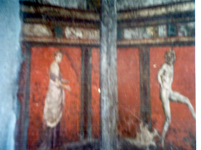 Pompey fresco- red background two people